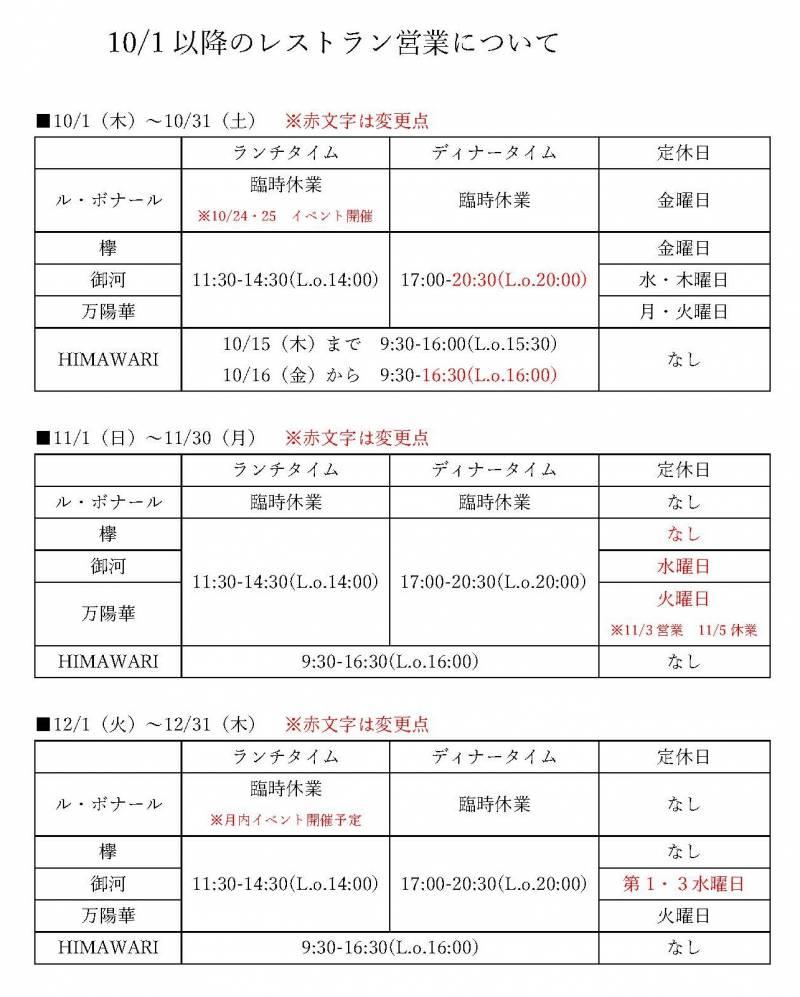 10/1からのレストラン街の営業時間・定休日の変更について